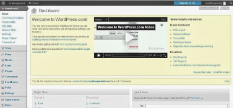 Halaman admin blog gratis wordpress